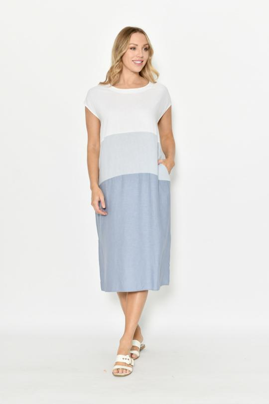 CAPPED SLEEVE COLOUR BLOCK LINEN DRESS - CAPPED SLEEVE COLOUR BLOCK LINEN DRESS - Ebony Boutique NZ