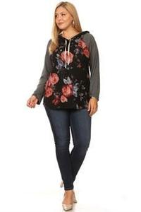 C&C FLOWER PRINT PULLOVER HOODIE - No image set - Ebony Boutique NZ