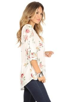 C&C SLEEVE BUTTON FLORAL TOP - No image set - Ebony Boutique NZ