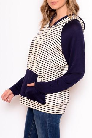 C&C STRIPE & SOLID HOODY TOP - No image set - Ebony Boutique NZ