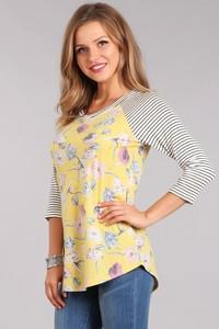 C&C YELLOW FLORAL PRINT/STRIPE BBALL TOP - No image set - Ebony Boutique NZ