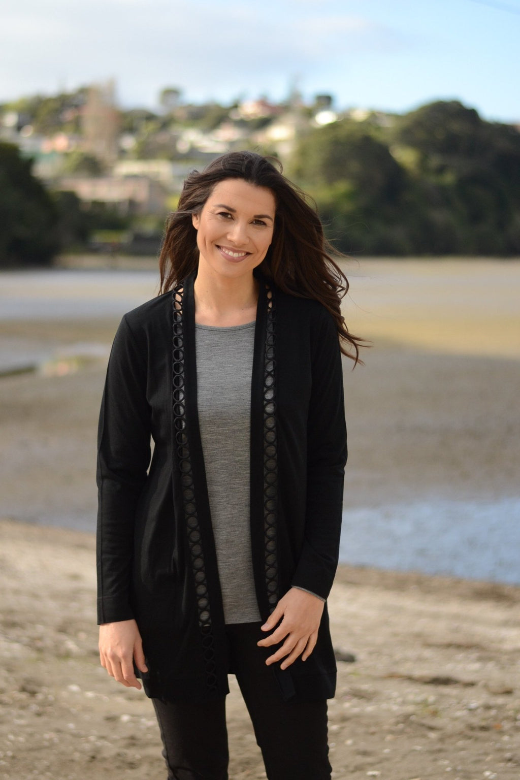 CIRCLE TRIM CARDIGAN - No image set - Ebony Boutique NZ