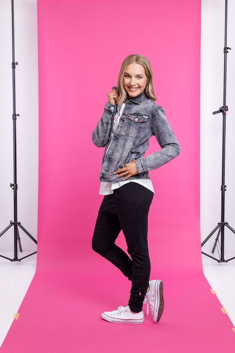 CLASSIC DENIM JACKET GREY - Home Lee Classic Denim Jacket Grey - Ebony Boutique NZ
