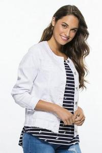 COLLARLESS DENIM JACKET - THR33049 in White - Ebony Boutique NZ