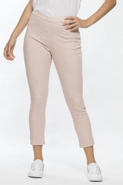 CROPPED COTTON STRETCH JEANS - THR33933 - Ebony Boutique NZ