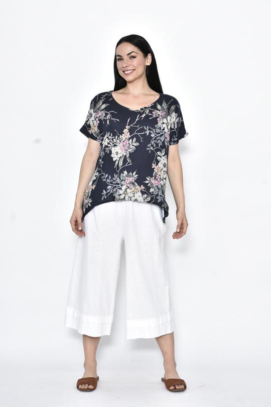 CURVE HEM LINEN TOP - No image set - Ebony Boutique NZ