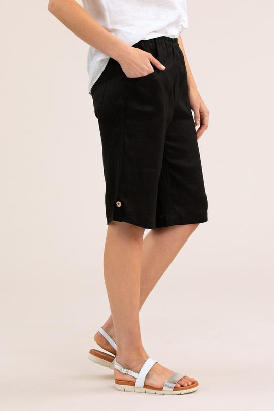 CURVED HEM LINEN SHORT - YT20S5764 - Ebony Boutique NZ