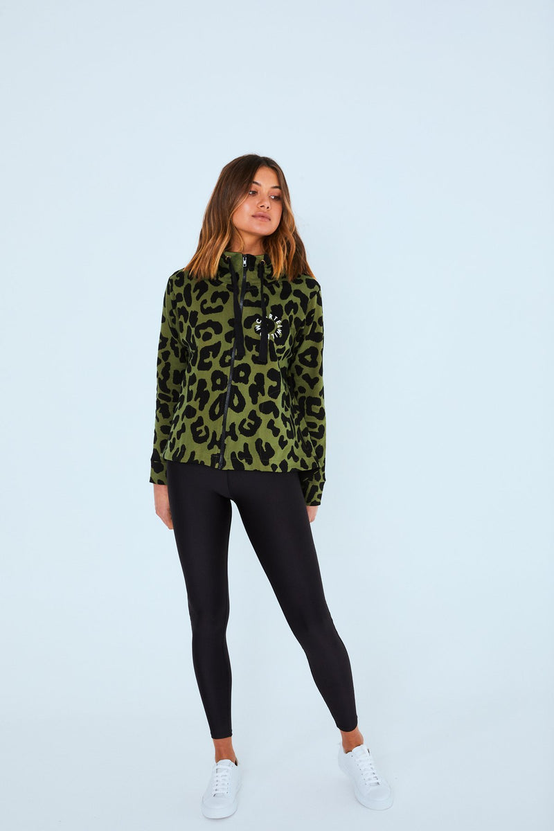 DION ZIP UP JACKET KHAKI LEOPARD - No image set - Ebony Boutique NZ