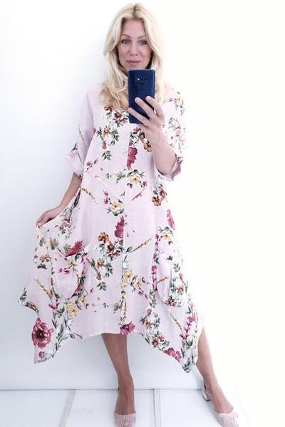 DOUBLE V-NECK DRESS BABY PINK ELSA BLOSSOM - DOUBLE V-NECK DRESS BABY PINK ELSA BLOSSOM - Ebony Boutique NZ