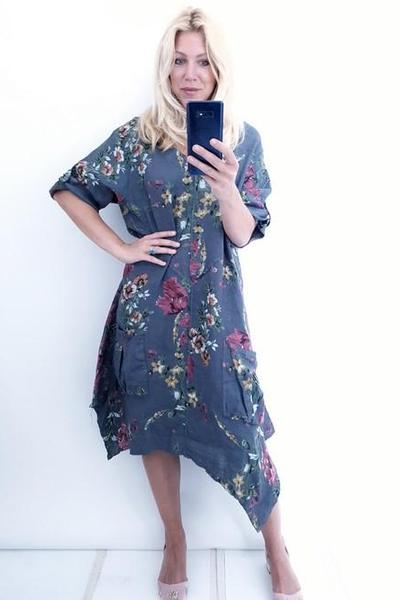 DOUBLE V-NECK DRESS CHARCOAL ELSA BLOSSOM - DOUBLE V-NECK DRESS CHARCOAL ELSA BLOSSOM - Ebony Boutique NZ