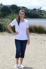 EBONY ORGANIC COTTON ROUND NECK RELAXED FIT TEE - EBAS888 in White - Ebony Boutique NZ