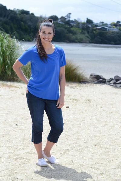 EBONY ORGANIC COTTON ROUND NECK RELAXED FIT TEE - EBAS888 in Athens Blue - Ebony Boutique NZ