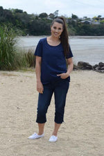EBONY ORGANIC COTTON ROUND NECK RELAXED FIT TEE - EBAS888 in Navy - Ebony Boutique NZ