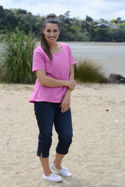 EBONY ORGANIC COTTON ROUND NECK RELAXED FIT TEE - EBAS888 in Raspberry - Ebony Boutique NZ