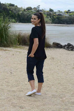 EBONY ORGANIC COTTON ROUND NECK RELAXED FIT TEE - EBAS888 in Black - Ebony Boutique NZ