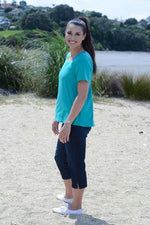 EBONY ORGANIC COTTON ROUND NECK RELAXED FIT TEE - EBAS888 in Emerald - Ebony Boutique NZ