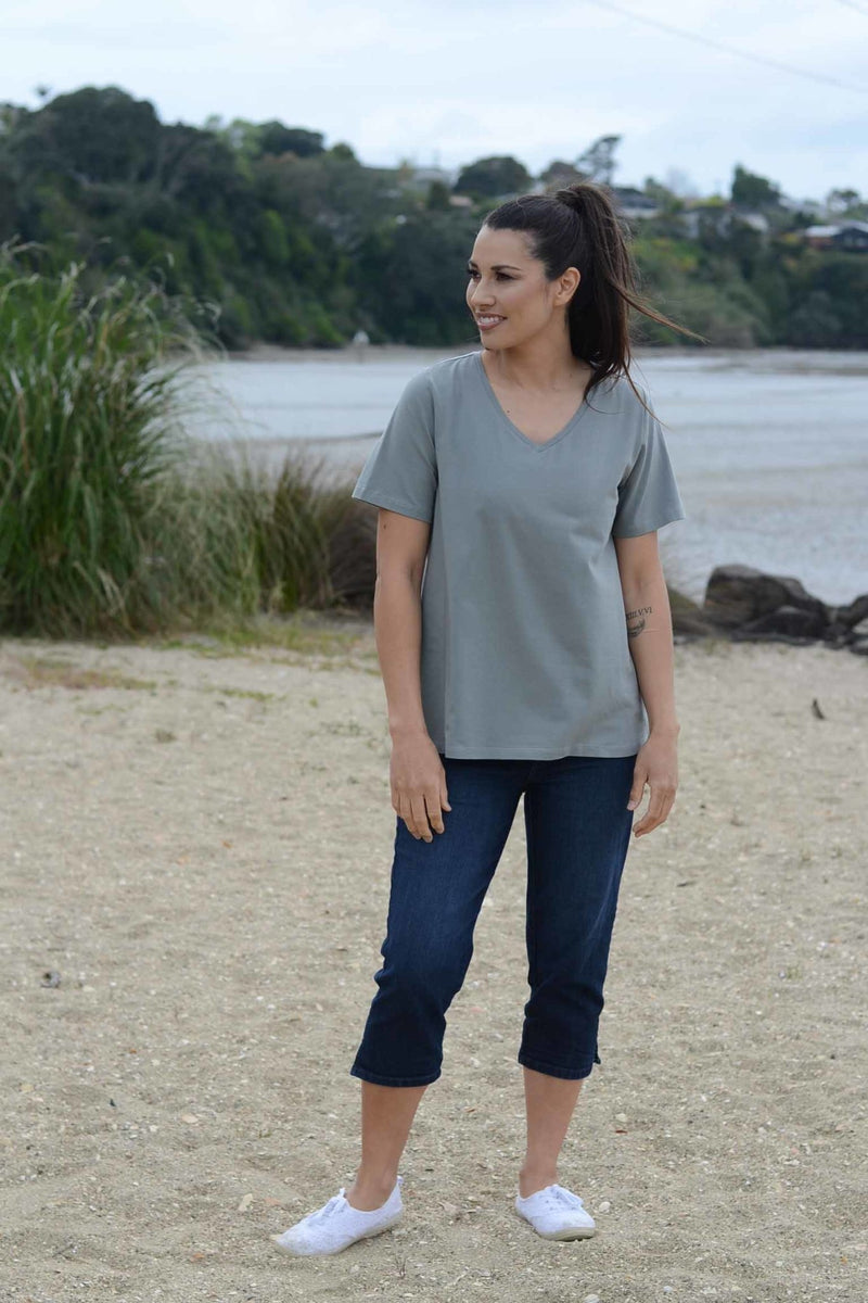 EBONY ORGANIC COTTON VEE NECK RELAXED FIT TEE - EBAS886 in Khaki - Ebony Boutique NZ