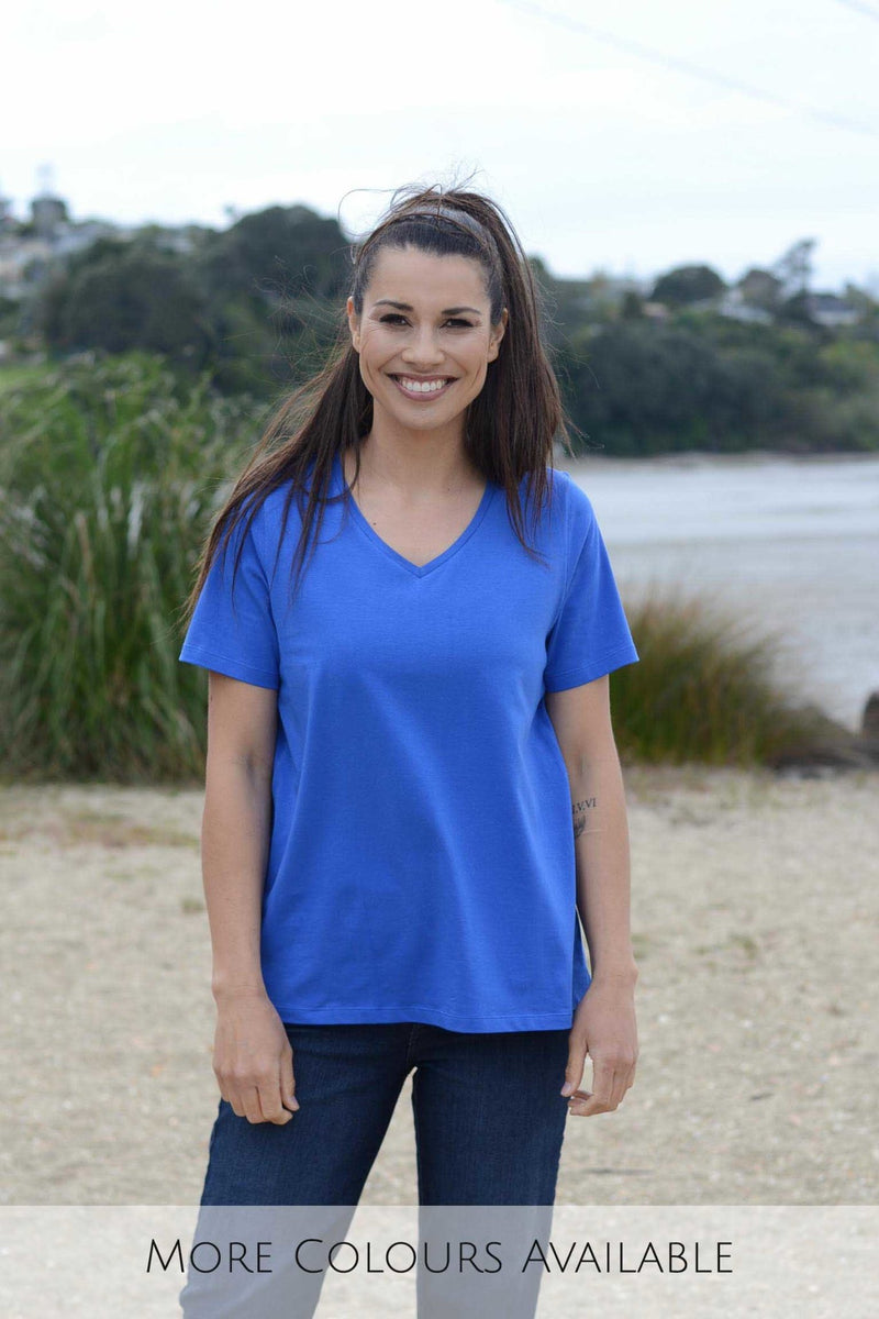 EBONY ORGANIC COTTON VEE NECK RELAXED FIT TEE - EBAS886 in Navy - Ebony Boutique NZ