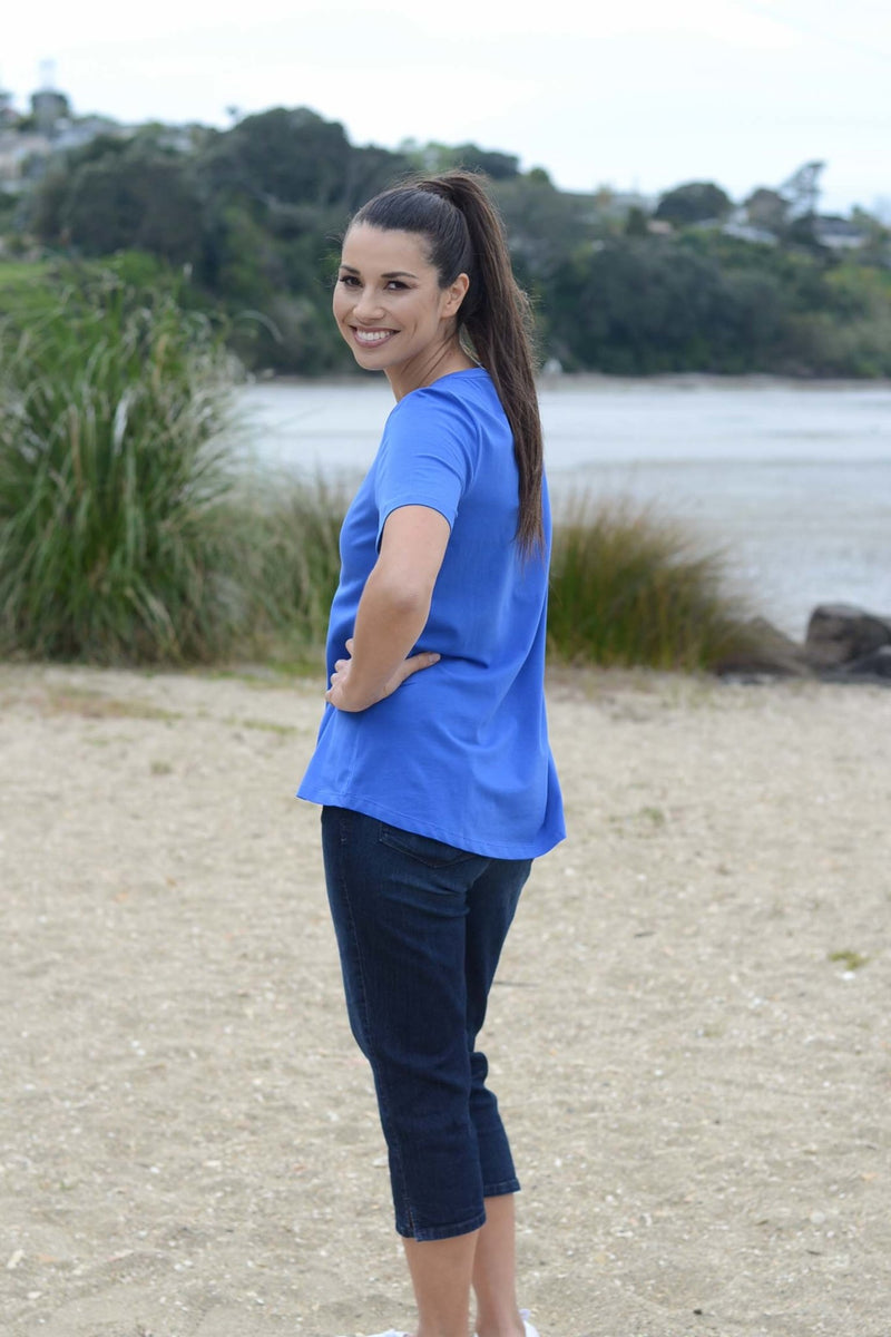 EBONY ORGANIC COTTON VEE NECK RELAXED FIT TEE - EBAS886 in Athens Blue - Ebony Boutique NZ