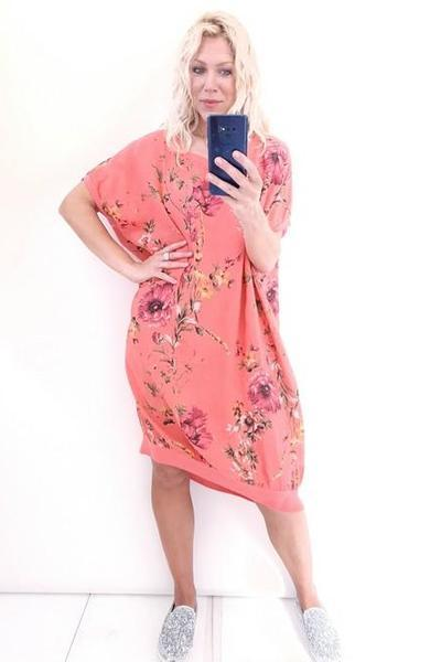 ELASTIC HEM DRESS HOT CORAL ELSA BLOSSOM - ELASTIC HEM DRESS HOT CORAL ELSA BLOSSOM - Ebony Boutique NZ