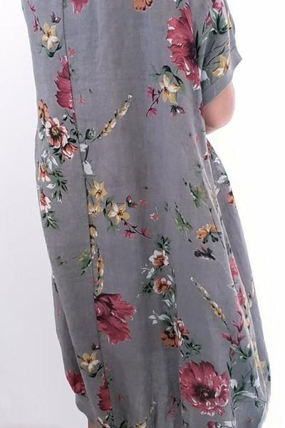 ELASTIC HEM DRESS MOCHA ELSA BLOSSOM - ELASTIC HEM DRESS MOCHA ELSA BLOSSOM - Ebony Boutique NZ