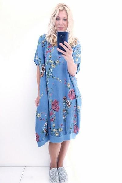 ELASTIC HEM DRESS PETROL ELSA BLOSSOM - ELASTIC HEM DRESS PETROL ELSA BLOSSOM - Ebony Boutique NZ