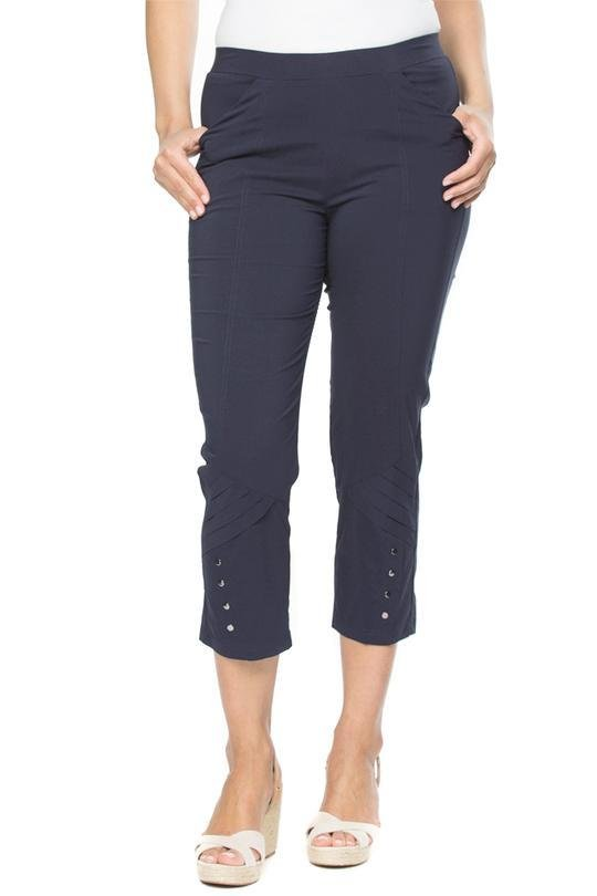 EYELET TRIM PANT - THR32639 - Ebony Boutique NZ