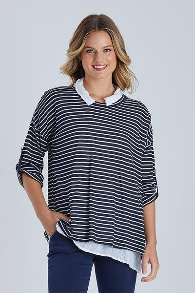 FINE STRIPE 2 IN 1 KNIT - FINE STRIPE 2 IN 1 KNIT - Ebony Boutique NZ