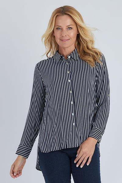 FINE STRIPE SHIRT - FINE STRIPE SHIRT - Ebony Boutique NZ