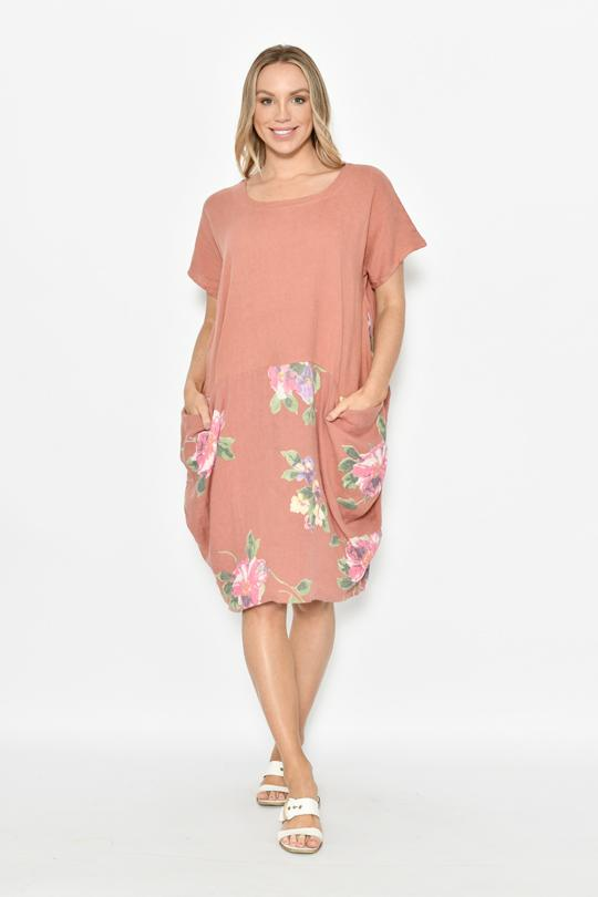 FLORAL CAPPED SLEEVE FRONT POCKET DRESS - FLORAL CAPPED SLEEVE FRONT POCKET DRESS - Ebony Boutique NZ