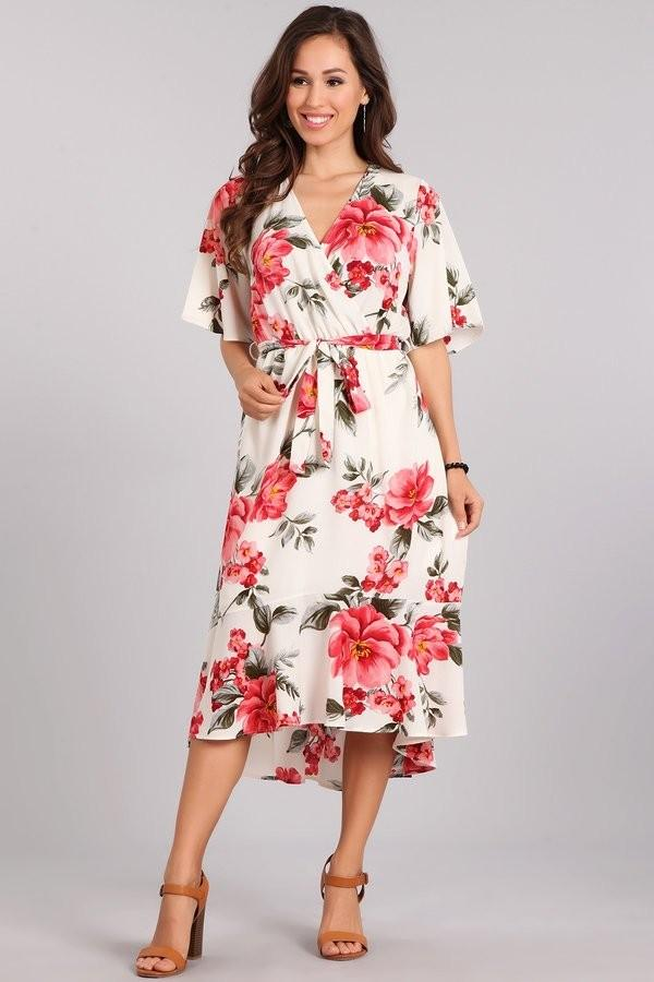 FLORAL CROSSOVER DRESS WITH TIE - FLORAL CROSSOVER DRESS WITH TIE - Ebony Boutique NZ