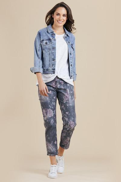FLORAL REVERSIBLE JEAN - THR37396 - Ebony Boutique NZ