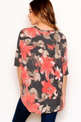 FRENCH TERRY BATWING SLEEVE TOP FLORAL - FRENCH TERRY BATWING SLEEVE TOP FLORAL - Ebony Boutique NZ