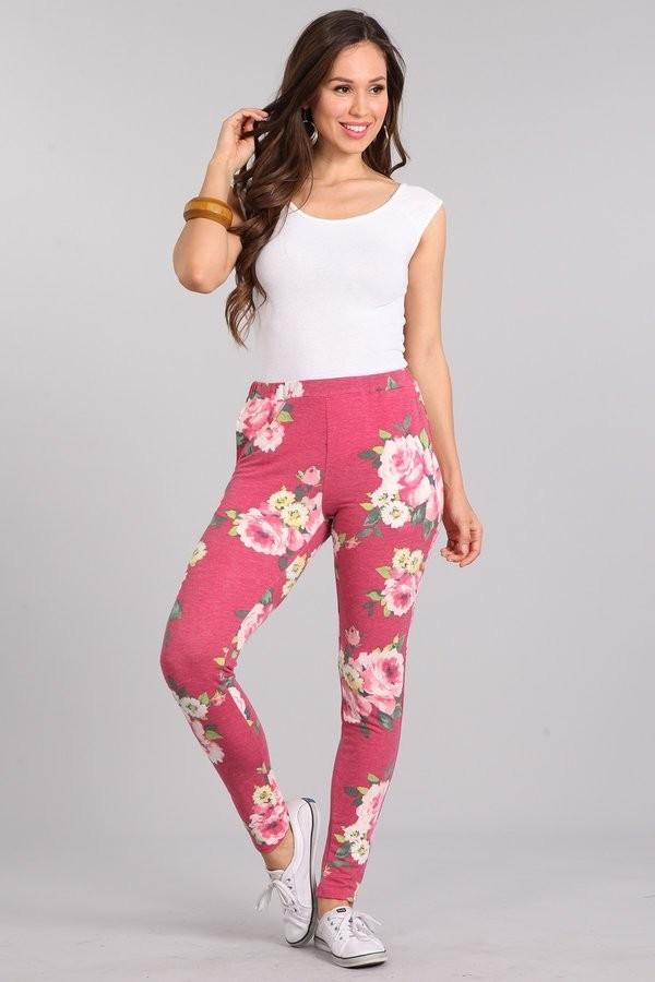 FRENCH TERRY PANTS WITH POCKETS FLORAL - FRENCH TERRY PANTS WITH POCKETS FLORAL - Ebony Boutique NZ