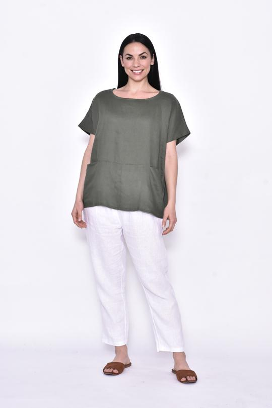 FRONT POCKET BOXY TOP - CA20115-3 - Ebony Boutique NZ