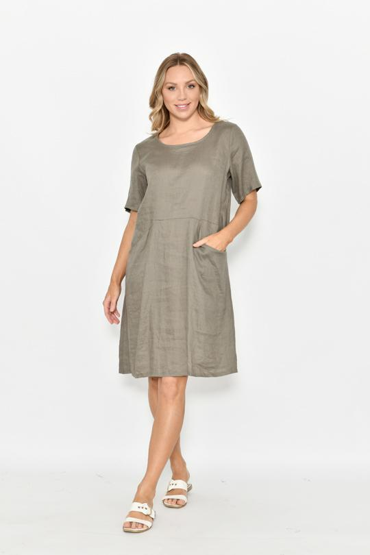 HALF SLEEVE FRONT POCKET LINEN DRESS - HALF SLEEVE FRONT POCKET LINEN DRESS - Ebony Boutique NZ