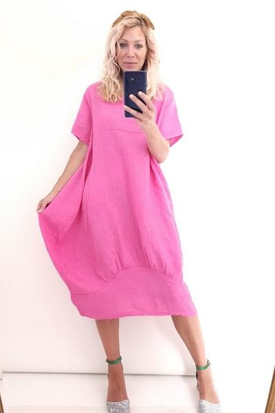 HOT PINK PLAIN MID SLEEVE MAXI DRESS - HOT PINK PLAIN MID SLEEVE MAXI DRESS - Ebony Boutique NZ