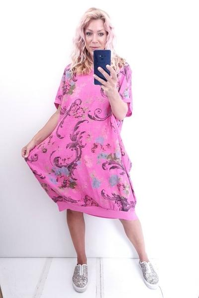 HOT PINK TWIRL PRINT ELASTIC HEM DRESS - HOT PINK TWIRL PRINT ELASTIC HEM DRESS - Ebony Boutique NZ