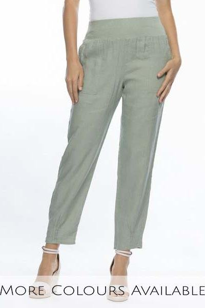 JERSEY WAIST LINEN PANTS - GSM19393 - Ebony Boutique NZ