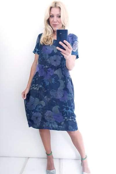 JUNGLE DRESS NAVY BIG RETRO - JUNGLE DRESS NAVY BIG RETRO - Ebony Boutique NZ