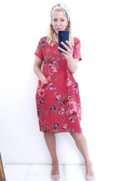 JUNGLE DRESS TULIP LINE RED - JUNGLE DRESS TULIP LINE RED - Ebony Boutique NZ