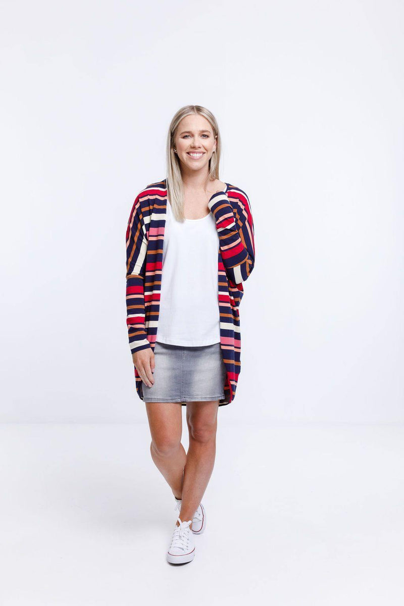 KIMONO LONG SLEEVE AUTUMN STRIPE PRINT - KIMONO LONG SLEEVE AUTUMN STRIPE PRINT - Ebony Boutique NZ
