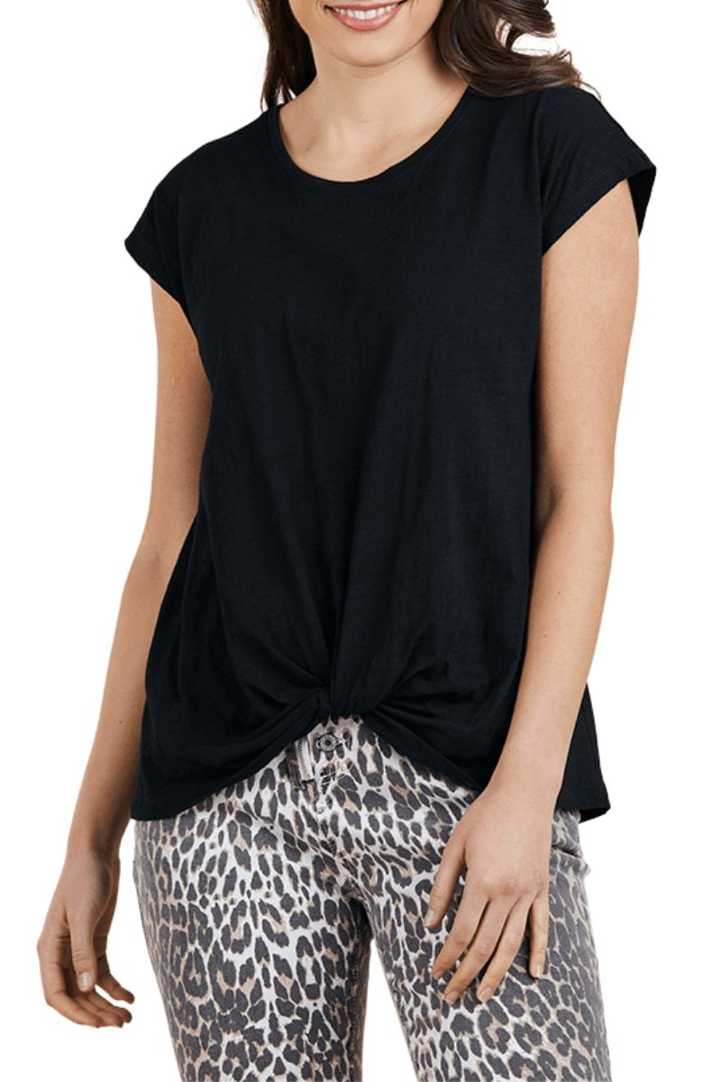 KNOT FRONT COTTON TEE - Threadz Knot Front tee - Ebony Boutique NZ