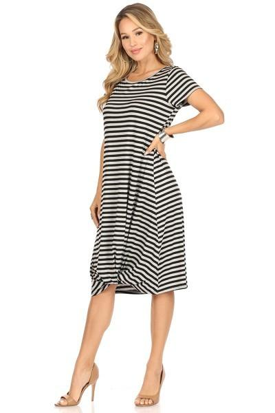 KNOT FRONT JERSEY STRIPE DRESS - KNOT FRONT JERSEY STRIPE DRESS - Ebony Boutique NZ