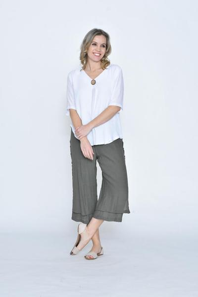 LA MODE SIDE BUTTON BEACH PANT 3/4 - LA1833-16 - Ebony Boutique NZ