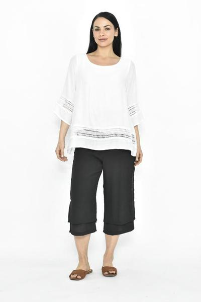 LA MODE SIDE BUTTON BEACH PANT 3/4 - LA MODE SIDE BUTTON BEACH PANT 3/4 - Ebony Boutique NZ