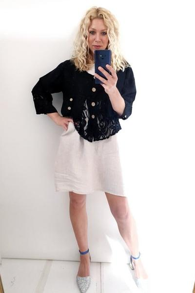 LACE & LINEN JACKET BLACK PLAIN AMADEUS - LACE & LINEN JACKET BLACK PLAIN AMADEUS - Ebony Boutique NZ