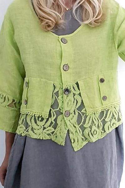 LACE & LINEN JACKET BRIGHT LIME PLAIN AMADEUS - LACE & LINEN JACKET BRIGHT LIME PLAIN AMADEUS - Ebony Boutique NZ