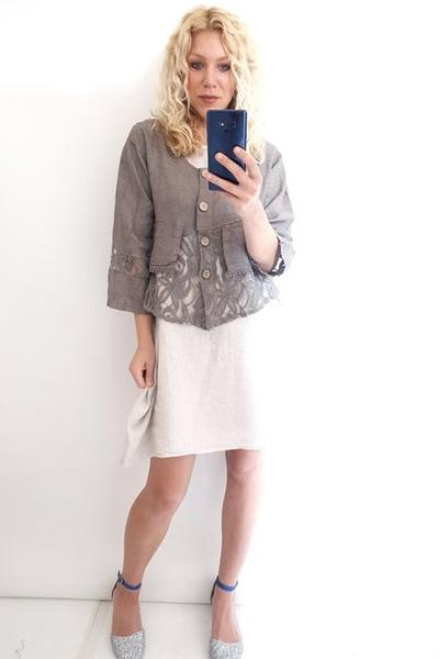 LACE & LINEN JACKET WHITE PLAIN AMADEUS - LACE & LINEN JACKET WHITE PLAIN AMADEUS - Ebony Boutique NZ