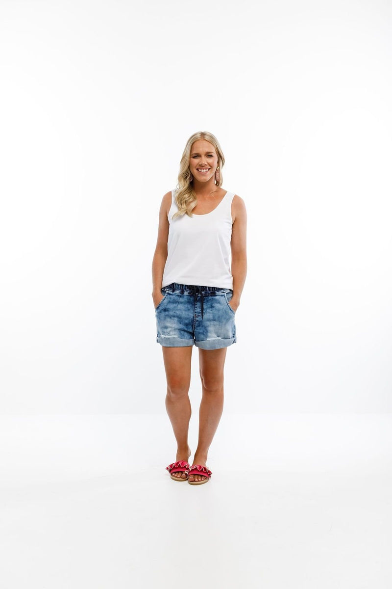 LAGOON DENIM CUT OFFS SNOW WASH - LAGOON DENIM CUT OFFS SNOW WASH - Ebony Boutique NZ